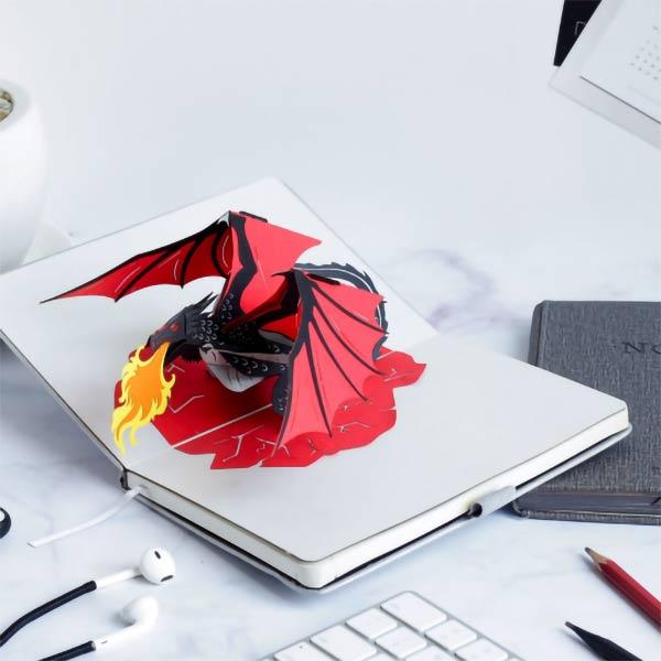 dragon 3d popup card